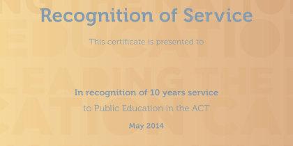 commemorative certificate recognising service